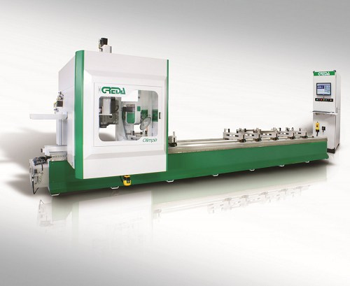 CNC machining center to perform machining on aluminum, pvc, and light alloy profiles - Olimpia