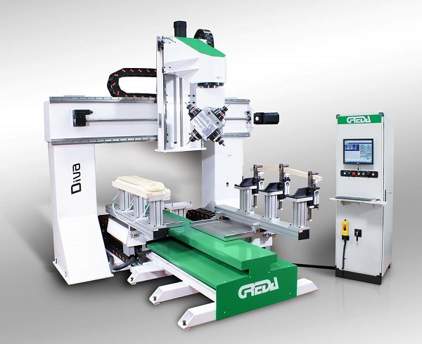 cnc woodworking on 5 faces of the piece and performs drilling, mortising, tenoning, milling, finger-joint, pantographing - Diva R2 + 2