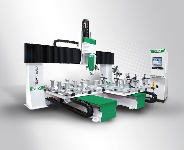 cnc simple and complex machining on 5 faces of the piece drilling, mortising, tenoning, milling, finger-joint, pantographing